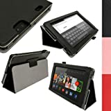 IGadgitz Premium Black PU Leather Folio Case Cover for Amazon Kindle Fire HD 7