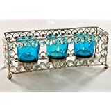 CraftKhana Triple Candle Blue Glass Crystal Tea Light Holder
