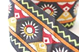 Neotrims Ethnic Decorative 55mm Wide Aztec Style Ribbon Trimming By the Yard. Black Base with Aztec Tribal Patterns. Unique & Striking For Crafts & Scrapbooking.