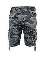 Smith and Jones - Hommes Short Bermuda Camouflage Longueur Genou Jeans Militaire