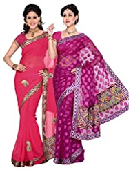 AISHA Printed Fashion Chiffon, Cotton Multicolor Sari (Pack Of 2)