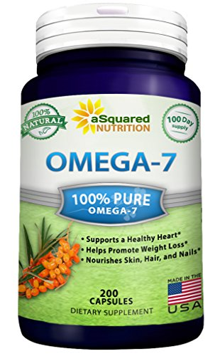 Purified Omega 7 Fatty Acids - 200 Capsules - Natural Sea Buckthorn Oil, XL Vitamin Supplement, No Fish Burp, Omega-7 Palmitoleic Acid, Compare to Omega 3 6 9 for Complete Weight Loss Results! (Omega 7 Supplement compare prices)