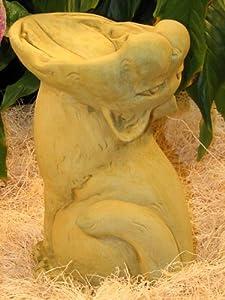 """BIRD SEED FEEDER 12"""" Kitten Cat Statue Cast GRAY CEMENT GARDEN Outdoor Decor"""
