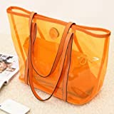 NEEWER® Women Jelly Transparent PVC Beach Handbag Tote Shoulder Bag with Small Cosmetic Tote (Orange)