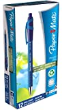 Papermate Flexgrip Stylo Bille Rétractable Pointe Moyenne Encre Bleue, Lot de 12