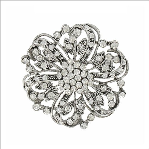 Flower with Crystal Stone Design Pin #041908