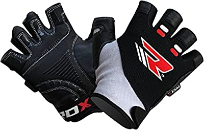 Authentic RDX Leather Gel Body Building Gloves Weight Lifting Fitness Gym Wear Exercise Workout Training from RDX