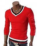 (アピリシェイト)appre-ciate メンズ Tシャツ カットソー 長袖 V首 無地 シンプル スポーツ スタイリッシュ きれいめ 大きいサイズ 黒 赤 白 (L, 赤)