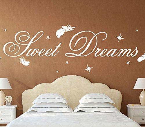 wandtattoo g nstig g014 schlafzimmer spruch sweet dreams mit sternen federn wandaufkleber. Black Bedroom Furniture Sets. Home Design Ideas