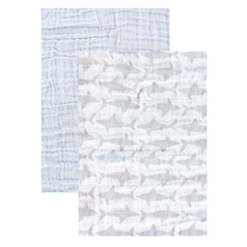"Yoga Sprout Muslin Swaddle Blankets, Blue Shark, 46"" x 46"""