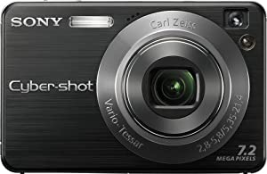Sony Cybershot DSCW120/B 7.2MP Digital Camera with 4x Optical Zoom with Super Steady Shot (Black)