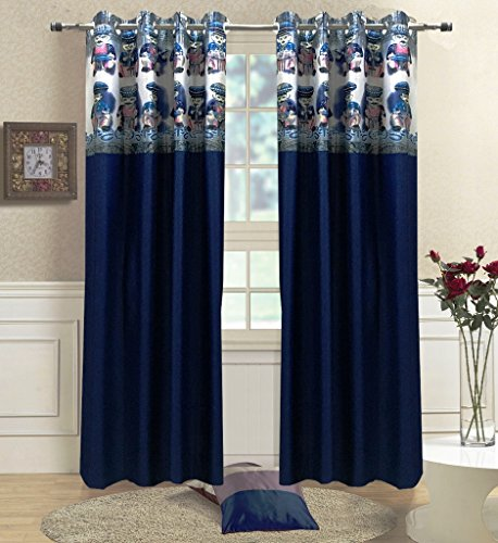 Homefab India Set of 2 Polyester Navy Blue Curtains