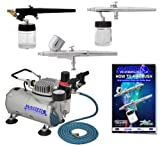 Master Airbrush Brand Multi-purpose Professional Airbrushing System with 3 Airbrushes, G22 Gravity Feed, S68 Siphon Feed & E91 All Purpose Airbrushes, Airbrush Compressor, 6' Air Hose & Airbrush Holder All with Our 1 Year Warranty and Now Includes a (FREE) How to Airbrush Training Book to Get You Started.