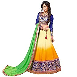 Resham Fabrics Shaded Yellow Semi Stitched Lehenga Choli