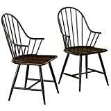 Target Marketing Systems Windsor Mixed Media Arm Chair (Set of 2), Black/Espresso