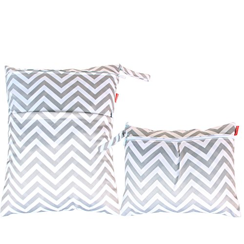 Damero 2pcs Pack Travel Baby Wet and Dry Cloth Diaper Organizer Bag, Gray Chevron (Wet Bag Travel compare prices)