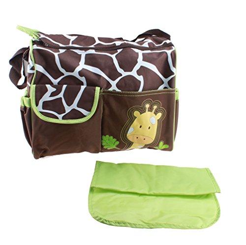 Agptek Multi Function Diaper Bag Mom Tote Handbag Baby Nappy Bags, Durable & Large Storage Space - Brown And Green