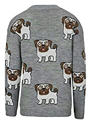 Allover Pugs Dogs Cute Funny Sweet Women's Knitted Jumper Grey from attitudeclothing