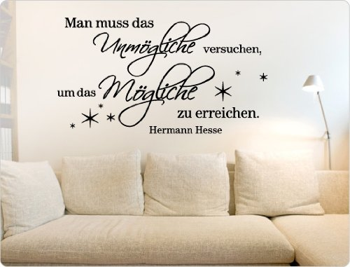 """I-love-Wandtattoo Sticker mural 10922Sticker mural """"Il faut Essayez, pour atteindre le possible.-Hermann Hesse Citation l'impossible, Cuivre, 200 cm x 110 cm"""