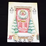 16 Handmade Christmas Greeting Cards with Envelopes, Holiday Decorated Door