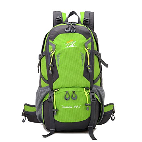 Zerd 40L Unisex Waterproof Outdoor Camping Travel Backpack Outdoor Hiking Daypacks Climbing Cycling Bag Waterproof Mountaineering Green front-252435