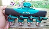 Coolife 4-way Garden Hose to Hose Connector, Heavy Duty Garden Water Hose Splitter, Hose Faucet Splitter/Manifold with Built in Shut Off valve(1pcs)