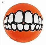 Rogz Grinz-Ball funny smile Hundeball Spielzeug / zum Befüllen / orange / Durchmesser