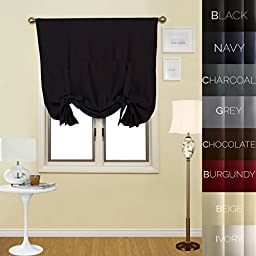 Prestige Home Fashion Thermal Insulated Blackout Tie-Up Window Shade - Rod Pocket - Black - 42\