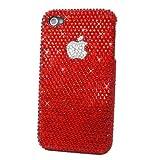 iPhone5S ケース シェルカバー スワロフスキー デコ 全面 レッドパッションアップル
