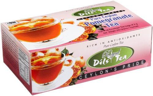 Dil'S Royal Tea Pure Ceylon Pomegranate Tea, 100-Count Tea Bags (Pack Of 12)