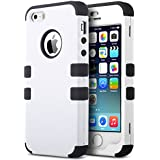 iPhone 5S Case, ULAK 3 in 1 Shield Case for iPhone 5s 5 Heavy Duty Hybrid 3 Layer Rugged Hard Cover Silicone Shell Inside Case (3 in 1 Shield-White+Black)