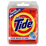 Tide Liquid Detergent, 2X Ultra, Travel Sink Packets, 3 ct.
