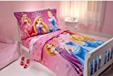 Disney Princess 4 in 1 Junior Bed Set - Sparkle, padded Quilt Cover with matching 3pc Sheet Set