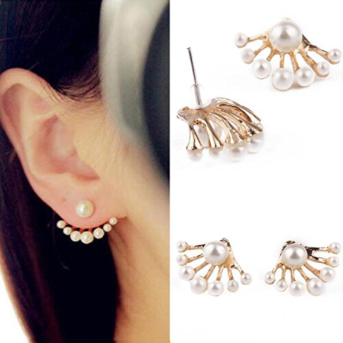 TR.OD 1Pair Women Lovely Crystal Earrings Pearl