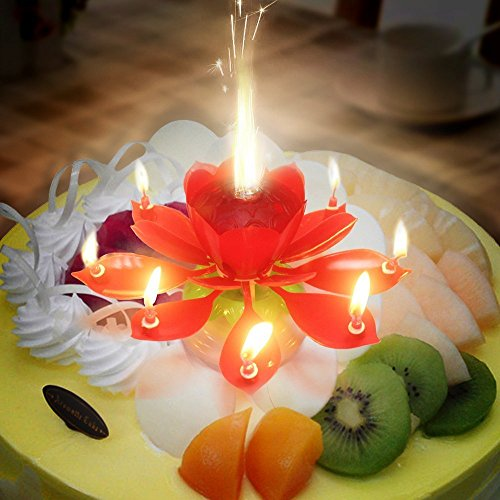 Musical Lotus Rotating Happy Birthday Candle Opening Flower 3 Pack Red 3pcs