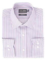 Cotton Rich Easy to Iron Multi-Striped Satin Twill Shirt