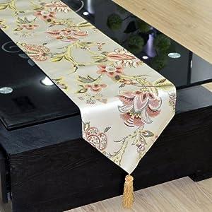 chemin de table fleurs modernes broderie chinois 30 x 240cm cuisine maison. Black Bedroom Furniture Sets. Home Design Ideas