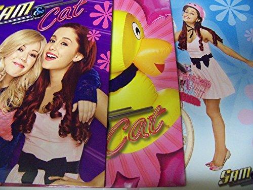 Staples Two Pocket Paper Folder ~ Set of 3 Sam & Cat Folders (Sam & Cat, Rubber Ducky, Pink Bike)