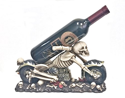 Bellaa Hand Made Designer Wine Holder Skeleton on Flaming Motorcycle Statue
