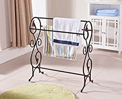 Khome Bronzed Finish Towel Quilt Rack Floor Stand Antique Style