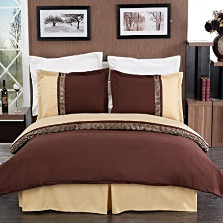 sheetsnthings 8PC Full Size EMB Astrid Gold/Chocolate bed in a bag set Including: 4pc Sheet set+ 3pc duvet cover set+1pc down Alter. comforter at Sears.com