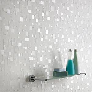 Contour spa wallpaper white blue kitchen for Blue bathroom wallpaper