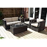 Milan Rattan Garden or Conservatory Furniture Sofa Set - Fully Assembled