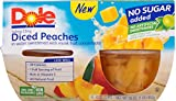 Dole Fruit Bowls, No Sugar Added Diced Peaches, 4 Ounce, 4 Cups (Pack of 6)