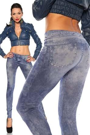 Silamoda - Femme - Legging effet jean usé, déco rivets - Unique - Bleu
