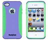 Body Armor Case for Apple iPhone 4, 4S (AT&T, Verizon, Sprint) - Purple/Green - Includes 24/7 Cases Microfiber Cleaning Cloth [Retail Packaging by DandyCase]