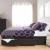 Black King Mates Platform Storage Bed with 6 Drawers