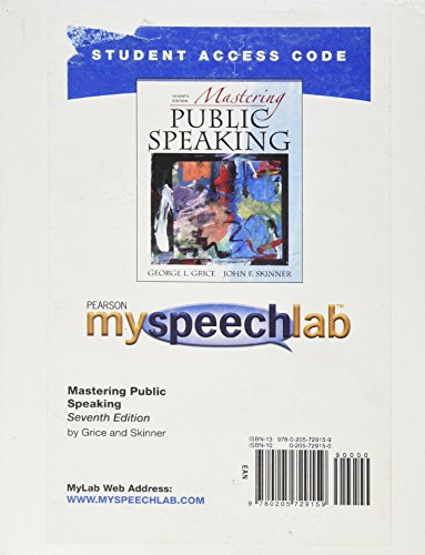 MySpeechLab -- Standalone Access Card -- for Mastering Public Speaking  (7th Edition)