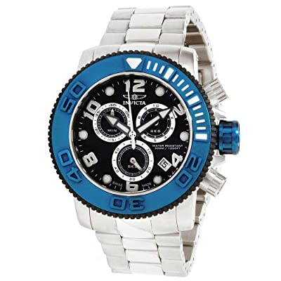 Invicta Men's Sea Hunter Black Dial Blue Bezel Stainless Steel Chronograph Watch