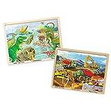Melissa & Doug Dinosaur & Construction Jigsaw Puzzle Bundle (48 Piece)